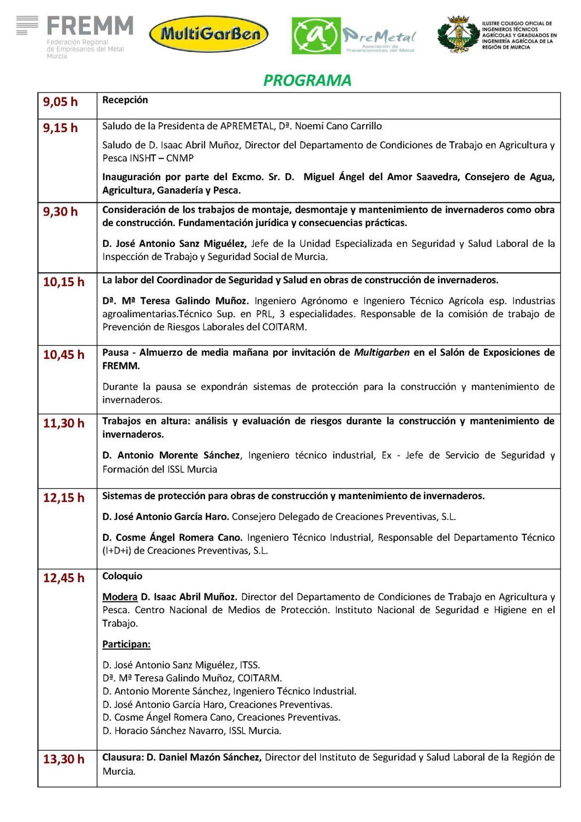 JORNADA TÉCNICA: CONSTRUCCIÓN Y MANTENIMIENTO DE INVERNADEROS
